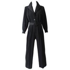 Yves Saint Laurent Black Tuxedo Jumpsuit Le Smoking YSL Rive Gauche Sz 40