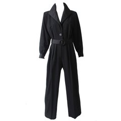 Yves Saint Laurent Le Smoking YSL Rive Gauche Black Tuxedo Jumpsuit, 1990s