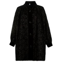 Yves Saint Laurent Black Velvet Embroidered Coat