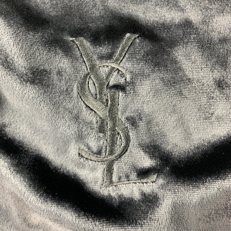 YVES SAINT LAURENT Black Velvet Fringe YSL Neck Scarf In New Condition For Sale In San Francisco, CA