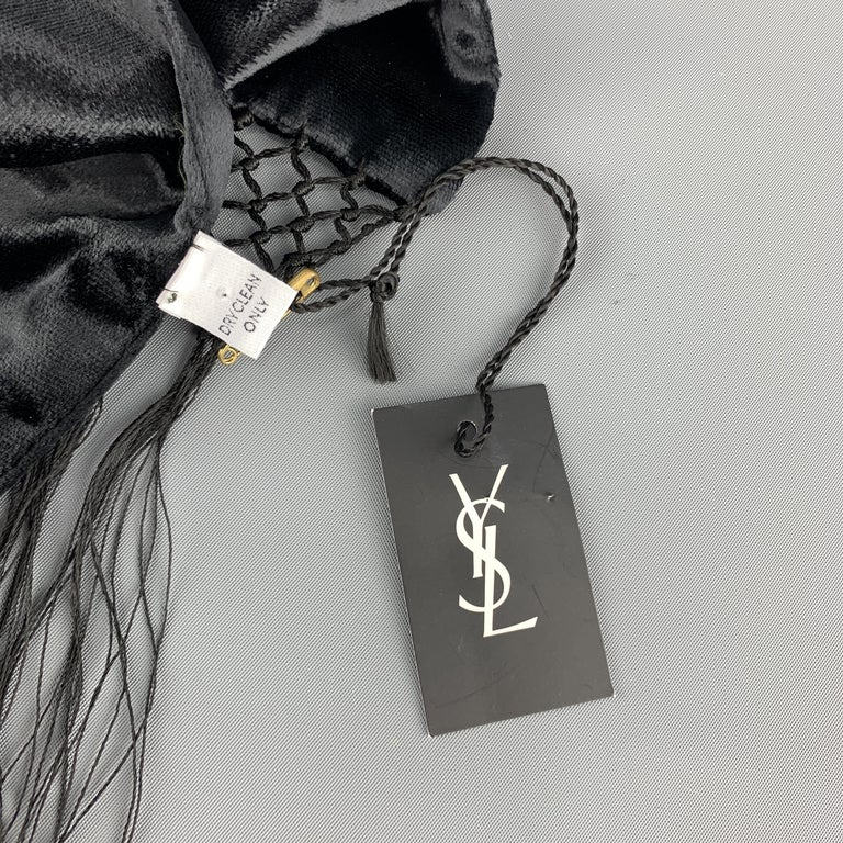 YVES SAINT LAURENT Black Velvet Fringe YSL Neck Scarf For Sale 3