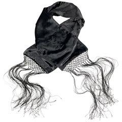 YVES SAINT LAURENT Black Velvet Fringe YSL Neck Scarf