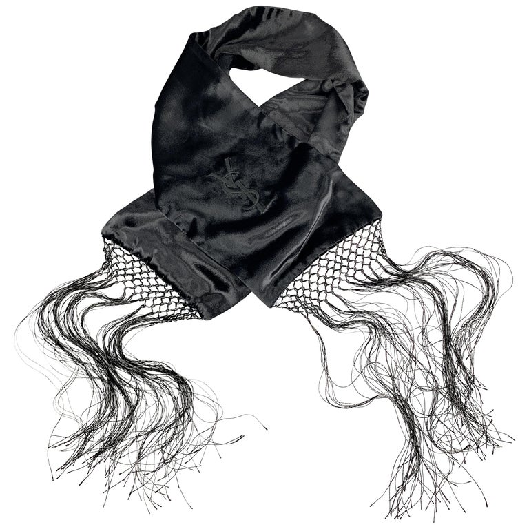 YVES SAINT LAURENT Black Velvet Fringe YSL Neck Scarf For Sale