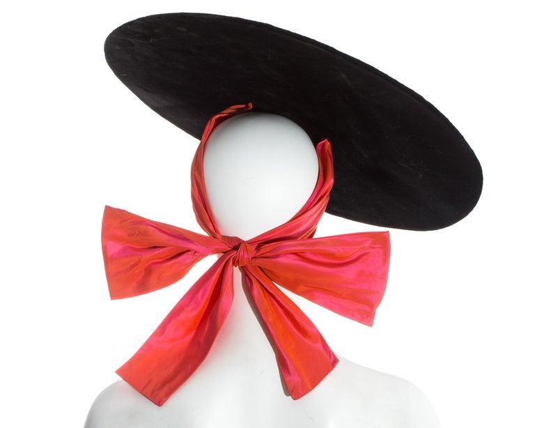 Women's Yves Saint Laurent black velvet saucer hat with orange taffeta ribbon, fw 1995 For Sale
