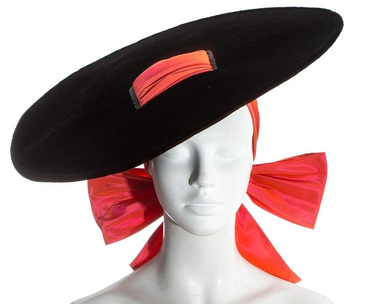 Yves Saint Laurent black velvet saucer hat with orange silk taffeta ribbon fastening  Fall-Winter 1995