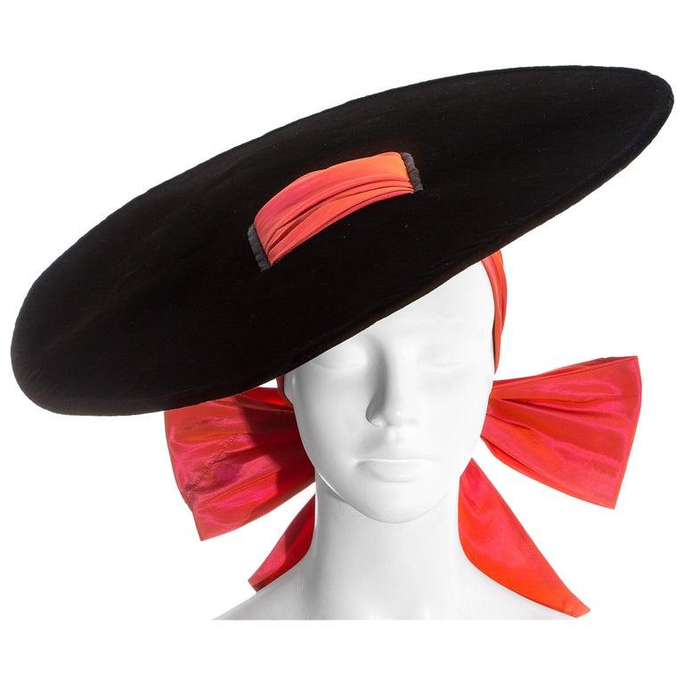 Yves Saint Laurent black velvet saucer hat with orange taffeta ribbon, fw 1995 For Sale