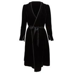 Yves Saint Laurent Black Velvet Wrap Dress