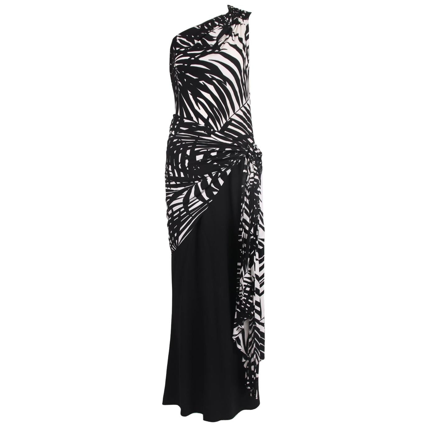 Yves Saint Laurent Black & White Leaf Print Single Shoulder Gown