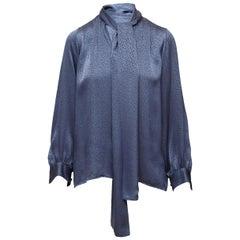 Yves Saint Laurent Blue Bow Blouse