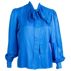 Yves Saint Laurent Blue Bow Tie Silk Shirt