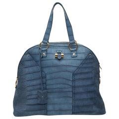 Yves Saint Laurent Blue Muse Nubuck Embossed Croc Handbag