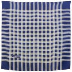 Yves Saint Laurent Blue Plaid Silk Scarf