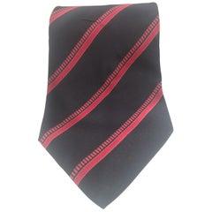 Yves Saint Laurent blue red silk tie