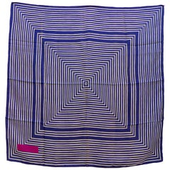 Yves Saint Laurent Blue Striped Silk Scarf