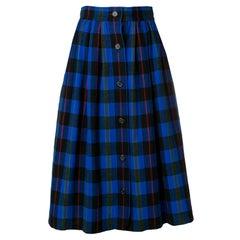 Yves Saint Laurent Blue Wool Check Skirt