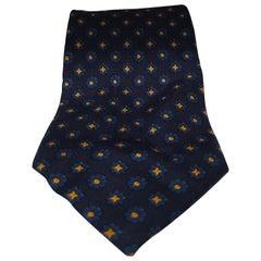 Yves Saint Laurent blue yellow silk tie