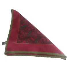 Yves Saint Laurent bordeaux multicoloured silk pocket handkerchief