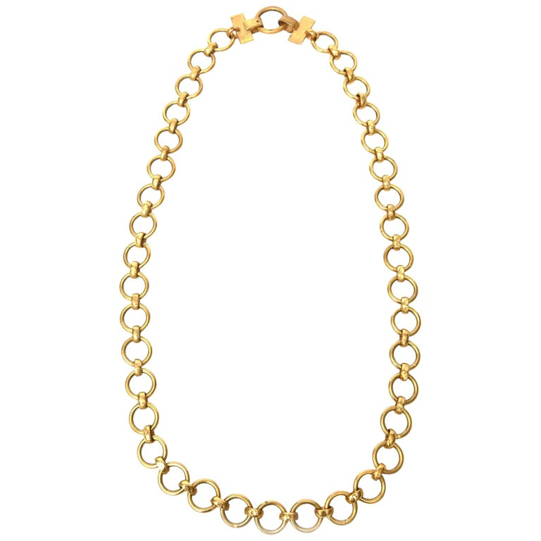 Yves Saint Laurent Brass Link Necklace Vintage For Sale