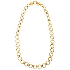 Yves Saint Laurent Brass Link Necklace Vintage