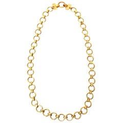 Yves Saint Laurent Brass Link Necklace Vintage