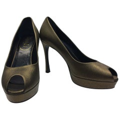 Yves Saint Laurent Bronze Peep Toe Pump