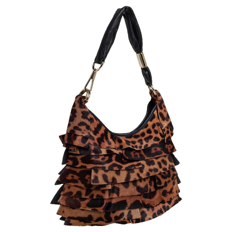 Women's Yves Saint Laurent Brown/Black Calf Hair and Leather Trim St.Tropez Hobo For Sale