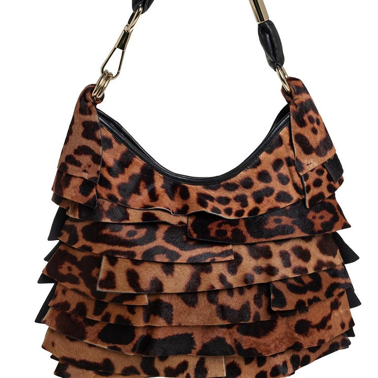 Yves Saint Laurent Brown/Black Calf Hair and Leather Trim St.Tropez Hobo For Sale 2