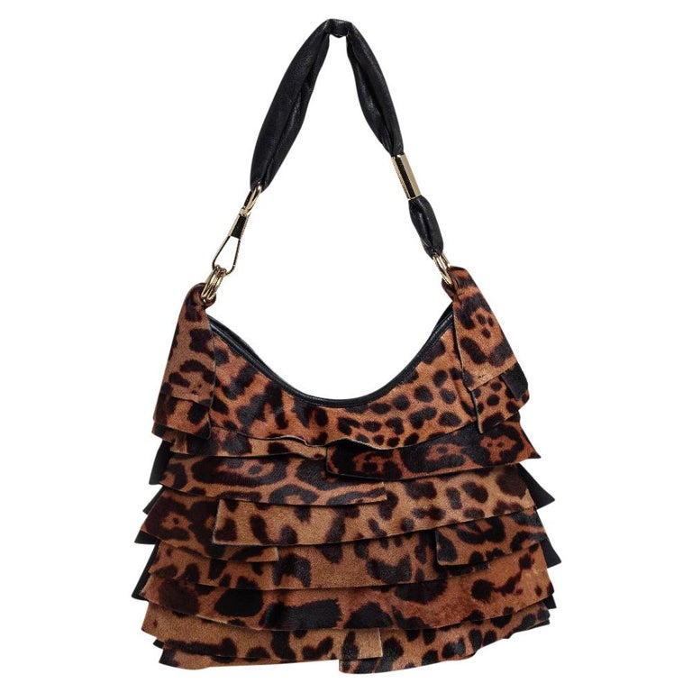 Yves Saint Laurent Brown/Black Calf Hair and Leather Trim St.Tropez Hobo For Sale