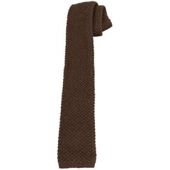 YVES SAINT LAURENT Brown Cashmere Waffle Knit Tie