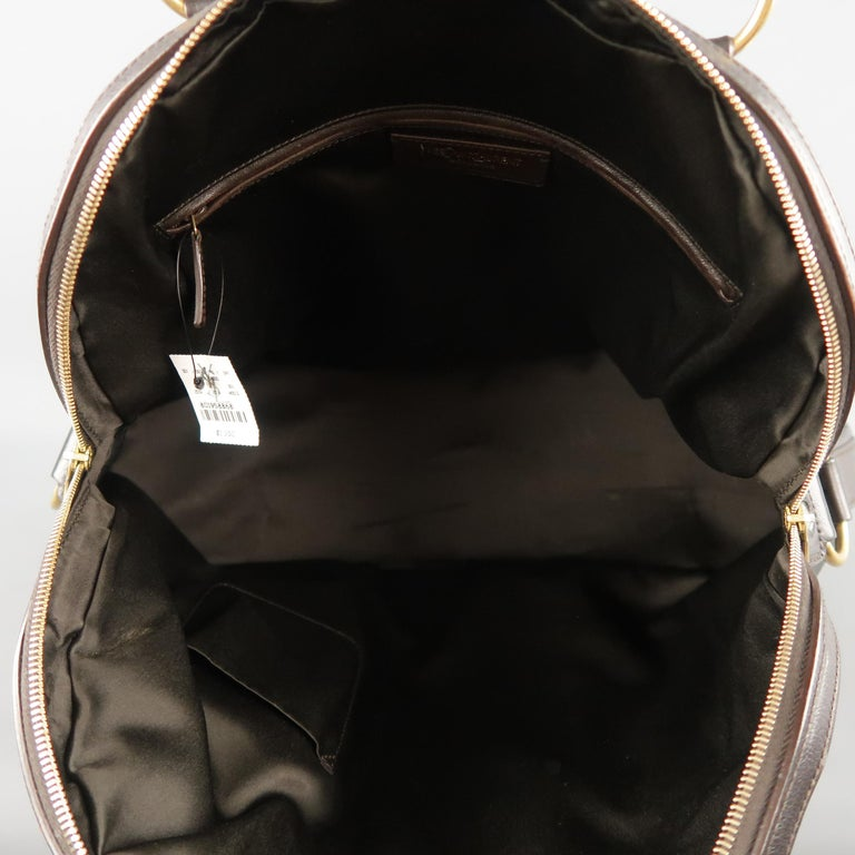YVES SAINT LAURENT Brown Leather Gold Brass Hardware MUSE Tote Bag 10