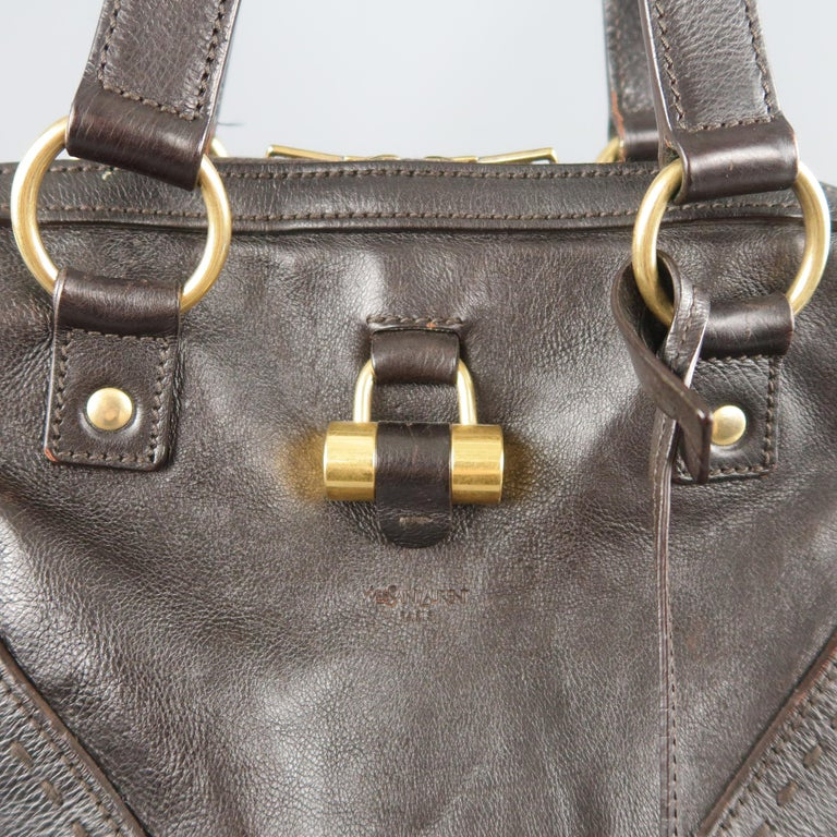 YVES SAINT LAURENT Brown Leather Gold Brass Hardware MUSE Tote Bag 2