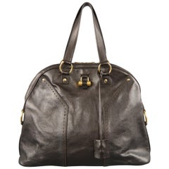 YVES SAINT LAURENT Braune Leder Gold Messing Hardware MUSE Tote Tasche