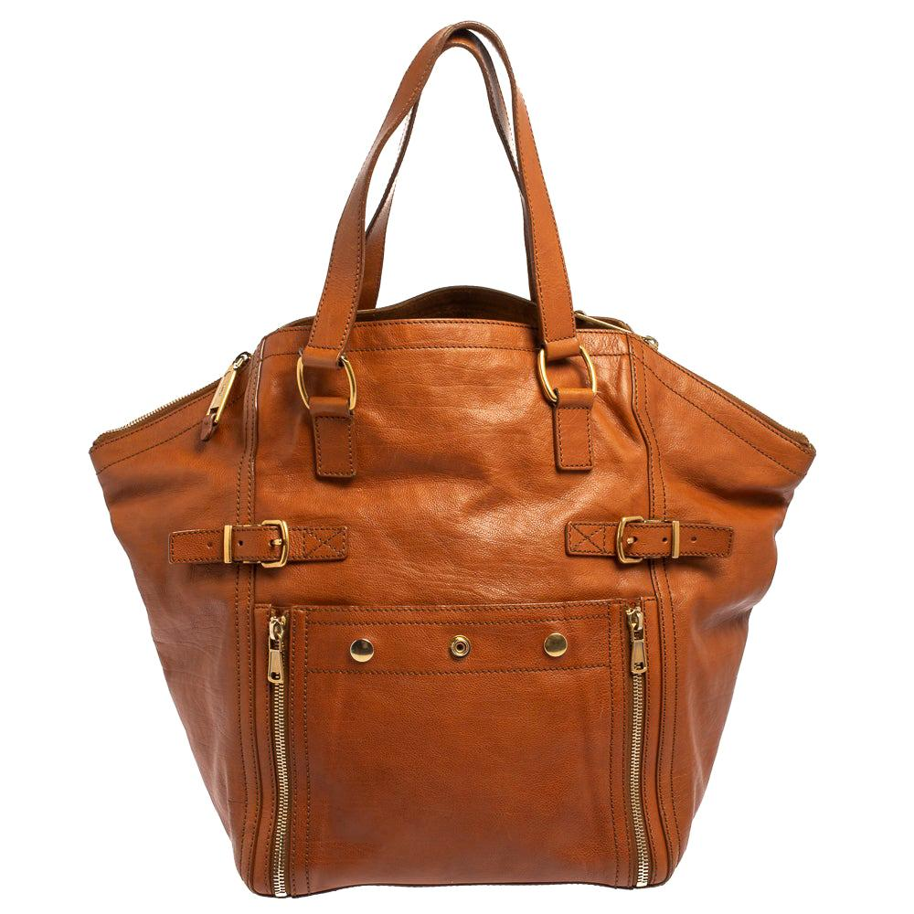 Yves Saint Laurent Brown Leather Large Downtown Tote