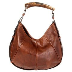YVES SAINT LAURENT brown leather MOMBASA MEDIUM Shoulder Bag