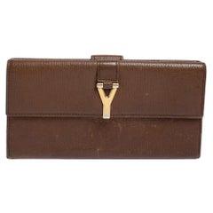 Yves Saint Laurent Brown Leather Y Ligne Flap Continental Wallet