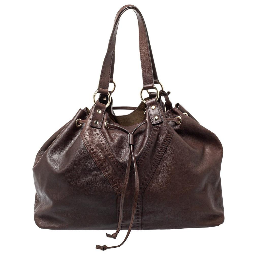 Yves Saint Laurent Brown/Metallic Gold Leather Reversible Double Sac Y Tote