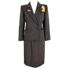 Yves Saint Laurent Brown Pinstripe Skirt Suit Dress 1980s Rive Gauce Collection