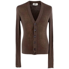 Yves Saint Laurent Brown Silk & Cashmere blend Cardigan - Size S