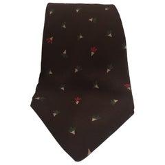 Yves Saint Laurent brown silk tie