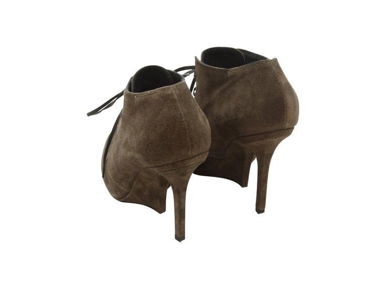 Yves Saint Laurent Brown Suede Booties In Good Condition For Sale In New York, NY
