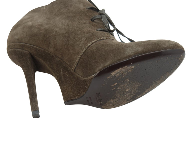 Women's Yves Saint Laurent Brown Suede Booties For Sale
