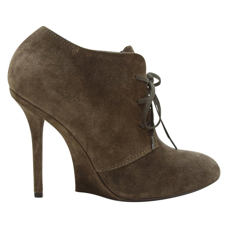 Yves Saint Laurent Brown Suede Booties For Sale