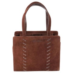 Yves Saint Laurent Brown Suede Leather Hand Bag