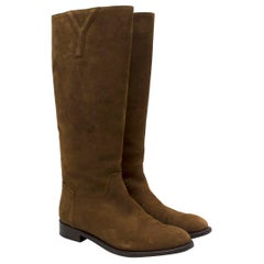 Yves Saint Laurent Brown Suede Tall Boots 37