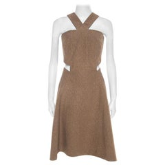 Yves Saint Laurent Brown Textured Cotton Cut Out Detail Flared Dress M