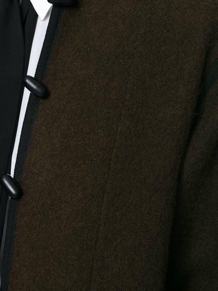 Black Yves Saint Laurent Brown Wool Russian Coat, 1970s For Sale