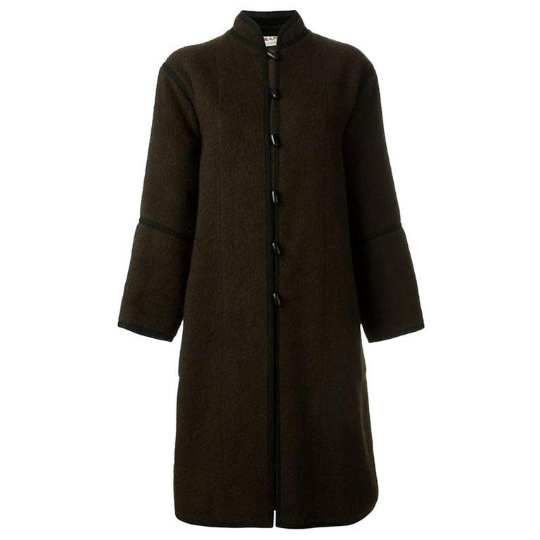 Yves Saint Laurent Brown Wool Russian Coat, 1970s For Sale