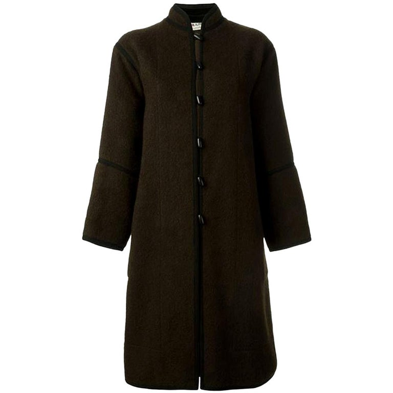 Yves Saint Laurent Brown Wool Russian Coat, 1970s For Sale