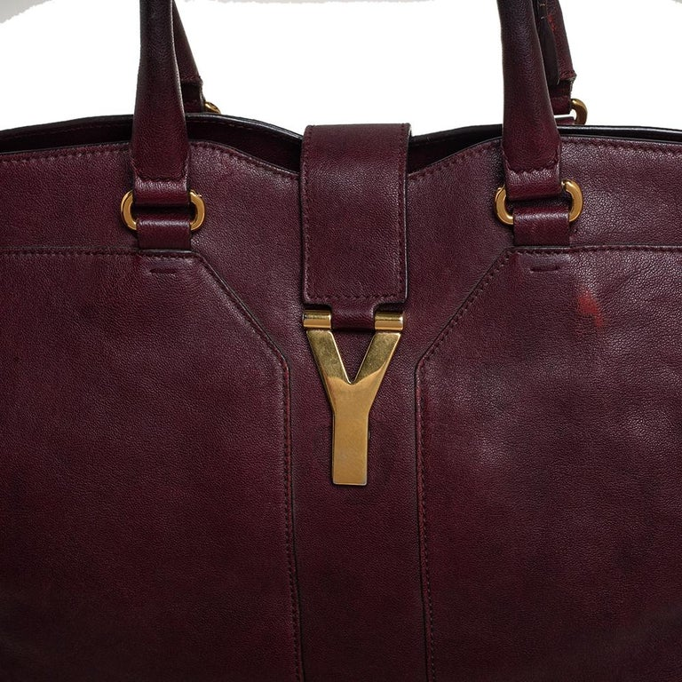 Yves Saint Laurent Burgundy Leather Large Cabas Chyc Tote For Sale 5