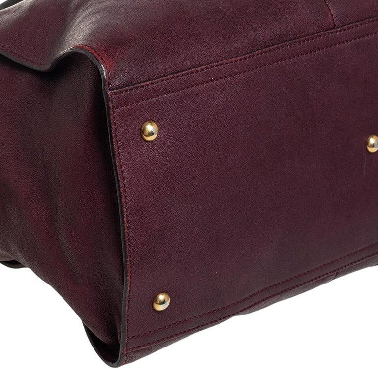 Yves Saint Laurent Burgundy Leather Large Cabas Chyc Tote For Sale 7